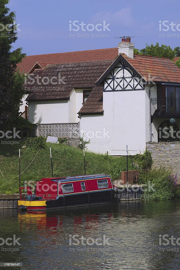houses by canal stock photo