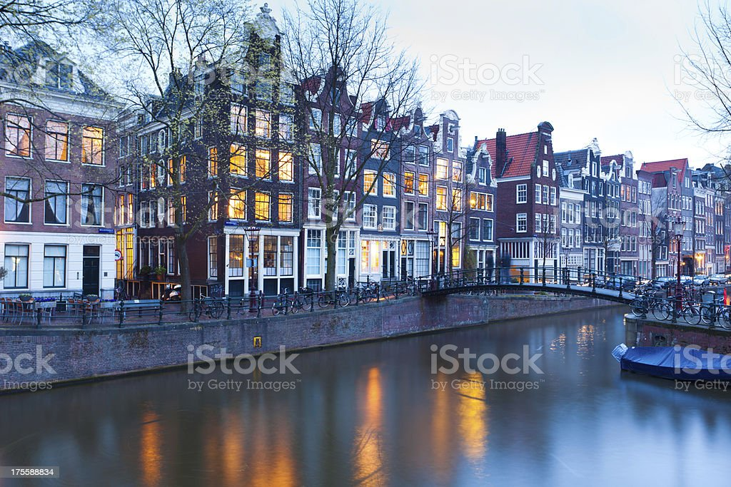 houses by Keizersgracht canal stock photo