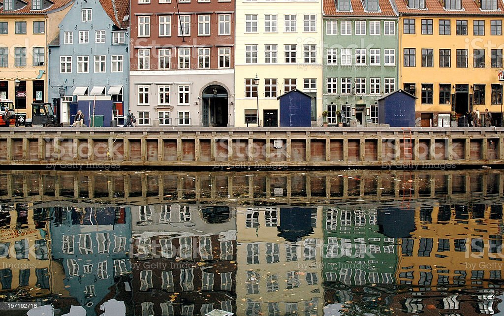 Houses by River in Nyhavn stock photo