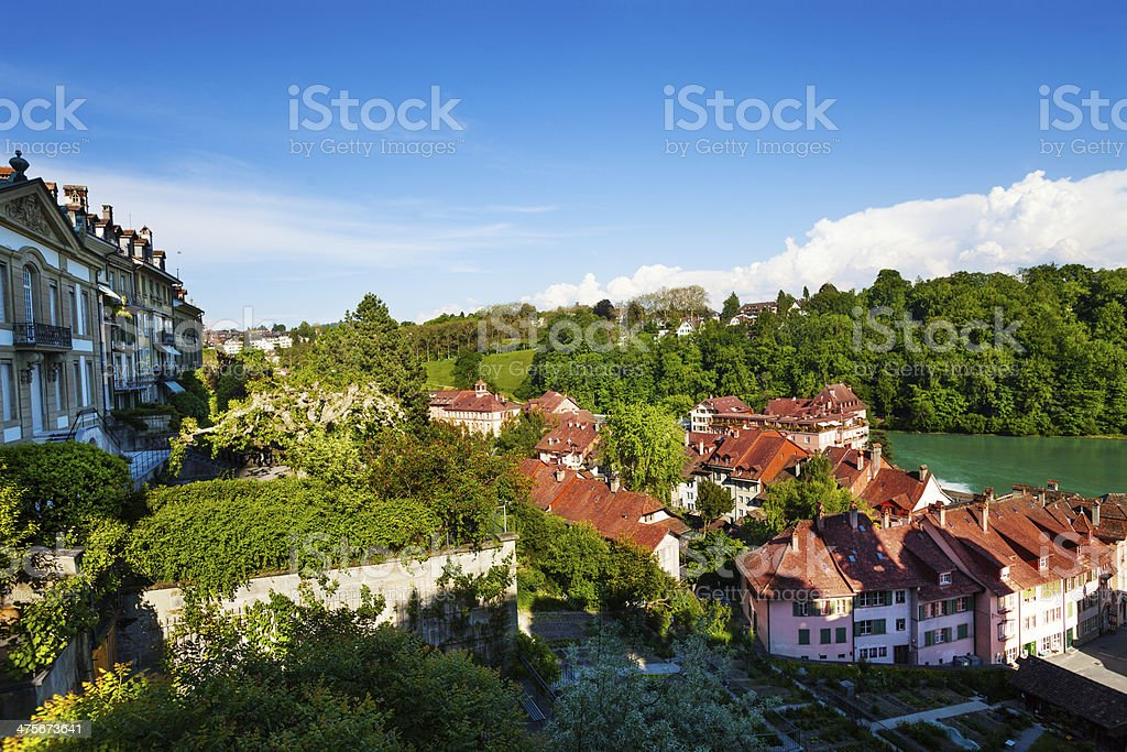 Houses by the river Aare royalty-free stock photo