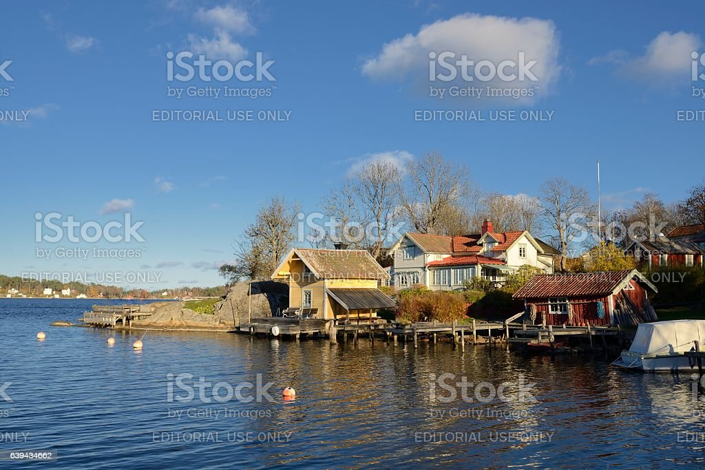 Houses by the water stock photo
