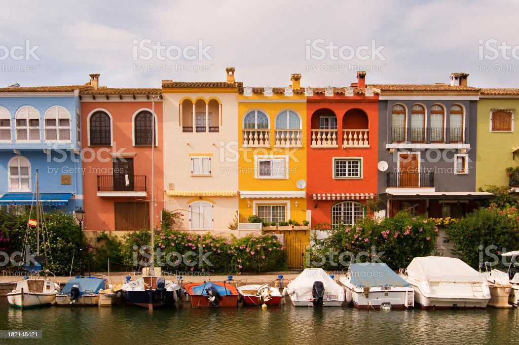 Houses by the waterfront stock photo