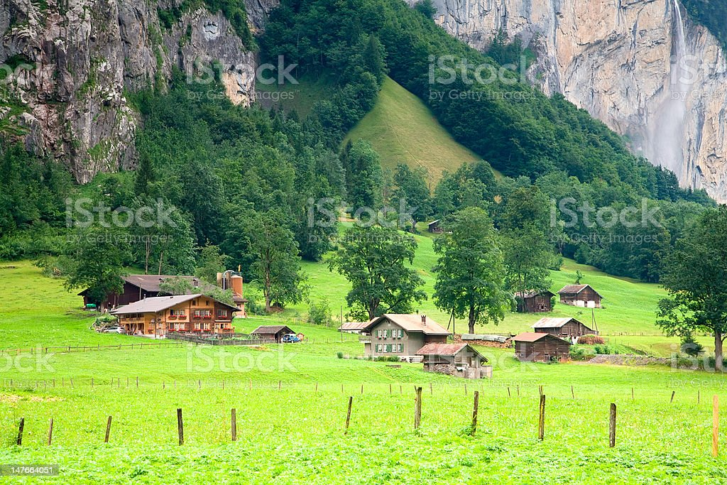 Houses  close to a Steep Rocky Mountain in Switzerland royalty-free stock photo