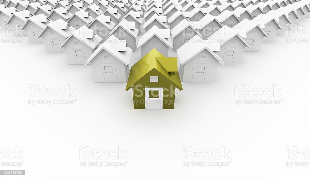 Houses concept front is green on white stock photo