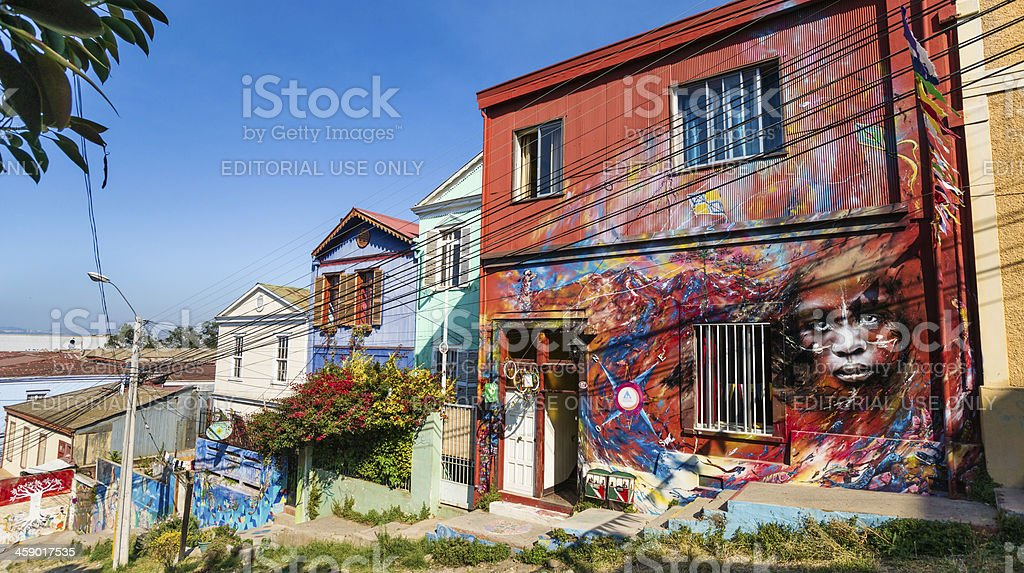 Houses Covered with Graffiti on Cerro Concepción in Valparaiso, Chile stock photo