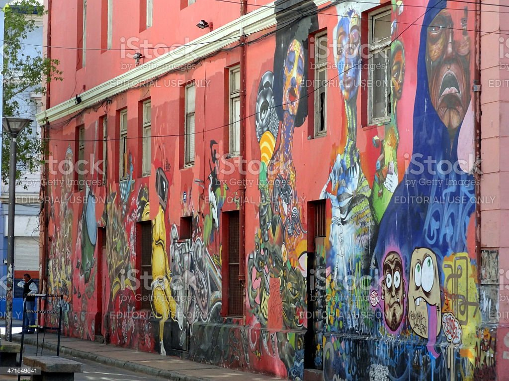Houses Covered with Graffiti on Cerro Concepci?n in Valparaiso, Chile stock photo