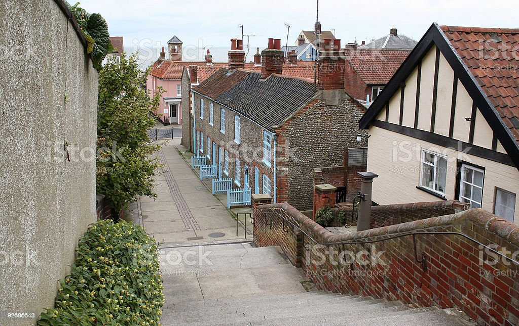 Houses down Town Steps stock photo