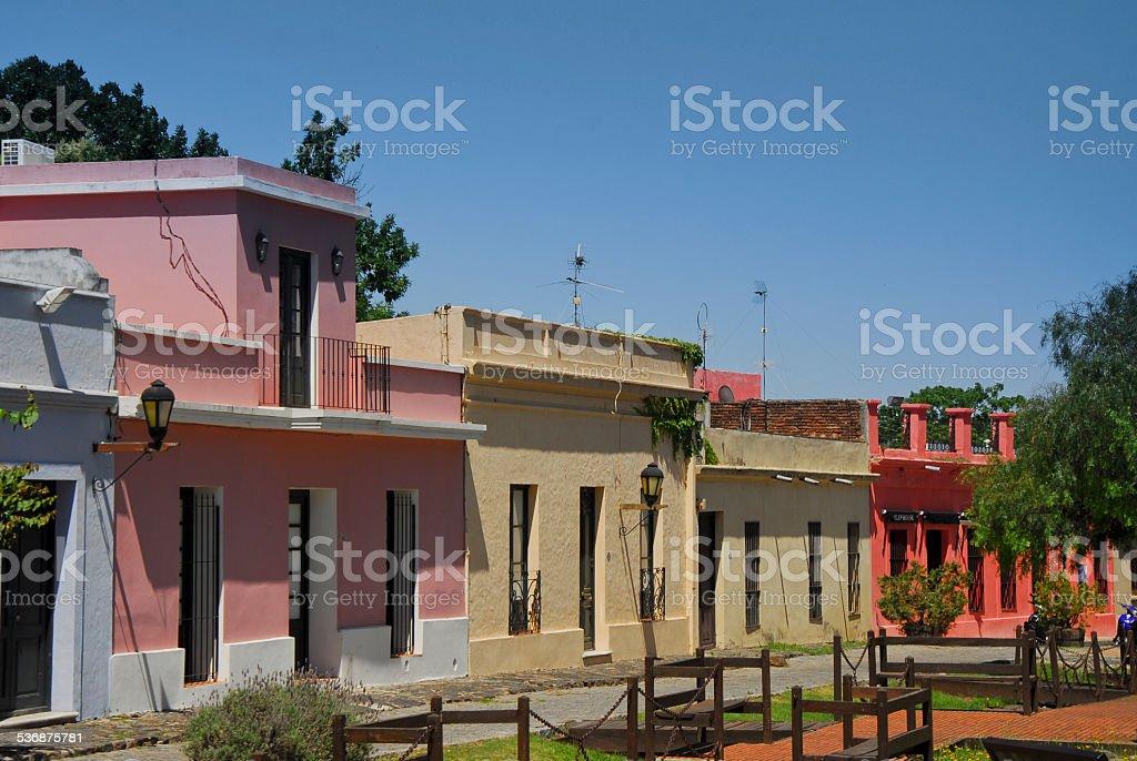 Houses facing the main square at Colonia del Sacramento stock photo