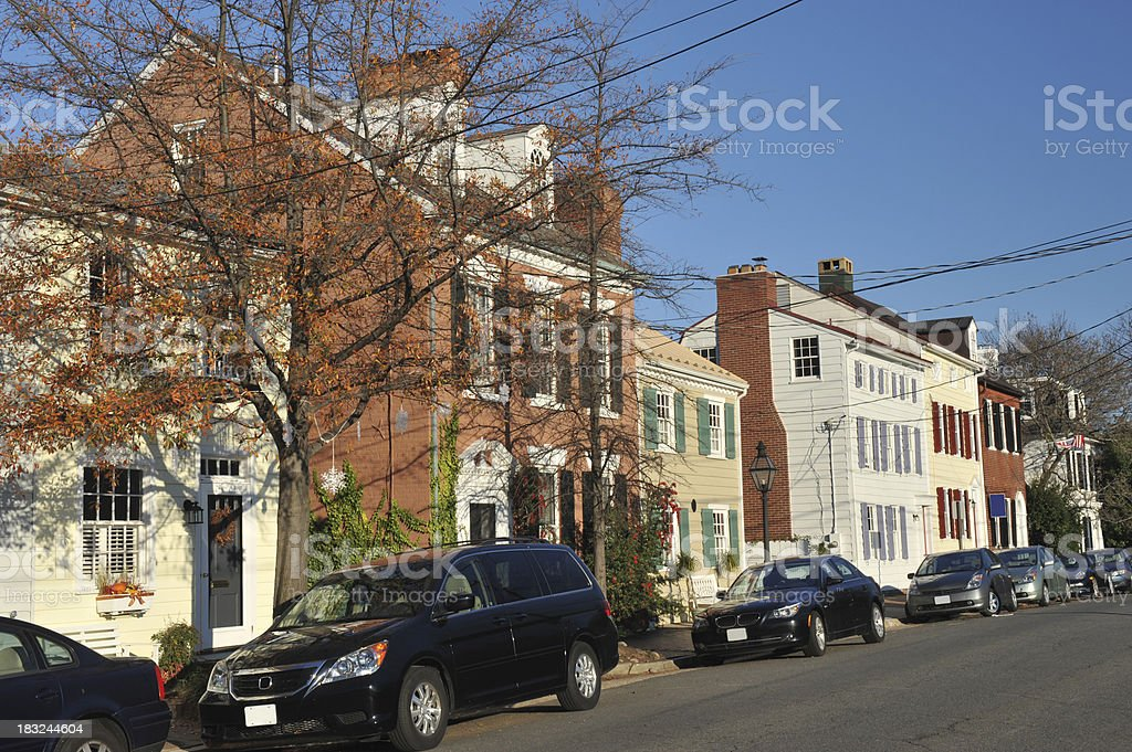 Houses in Alexandria of Virginia stock photo