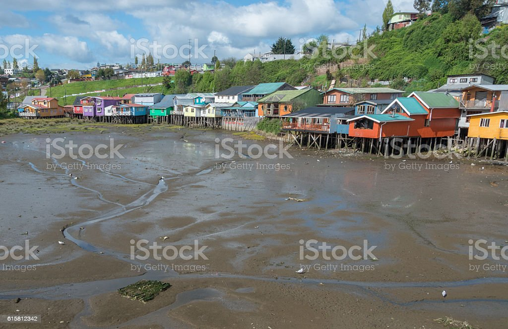 Houses in Castro, Chile stock photo