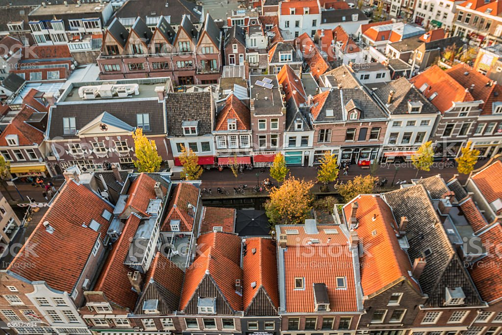 Houses in Delft Holland stock photo
