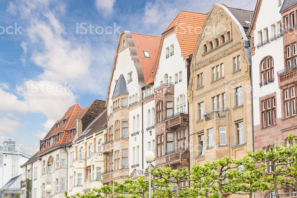 Houses in Dusseldorf Altstadt, the Old Town City Center stock photo