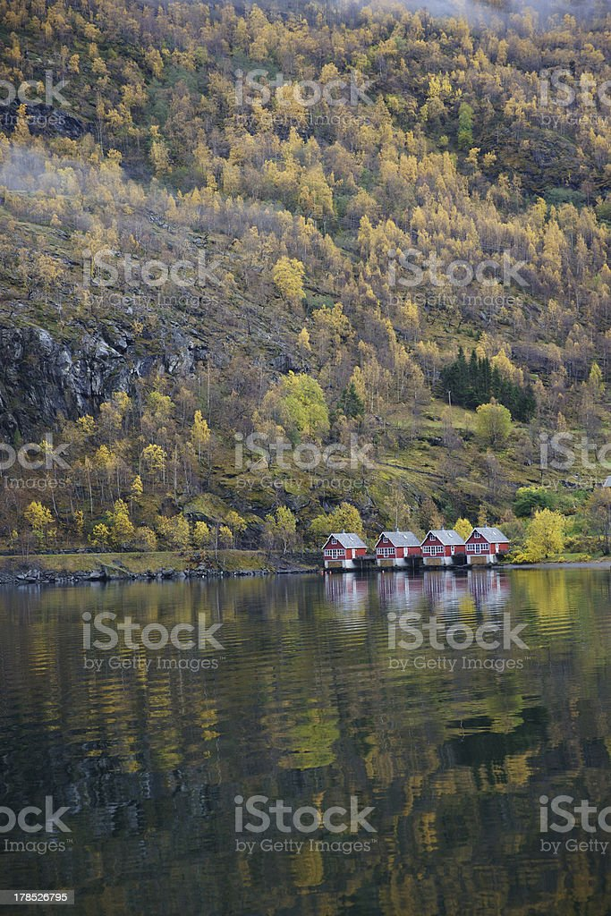 Houses in fjord, Norway royalty-free stock photo