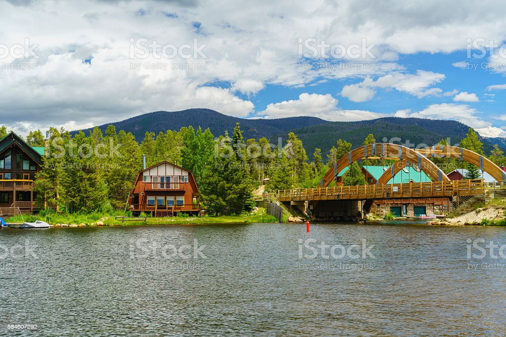 Houses in Grand Lake stock photo