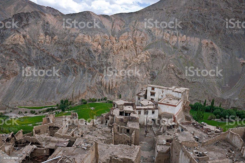 Houses in Mountainous Village Likir India stock photo