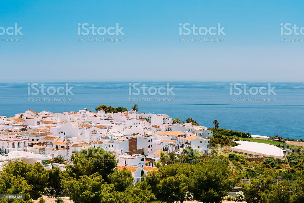 Houses in Nerja, Malaga Province, Andalusia, Spain stock photo