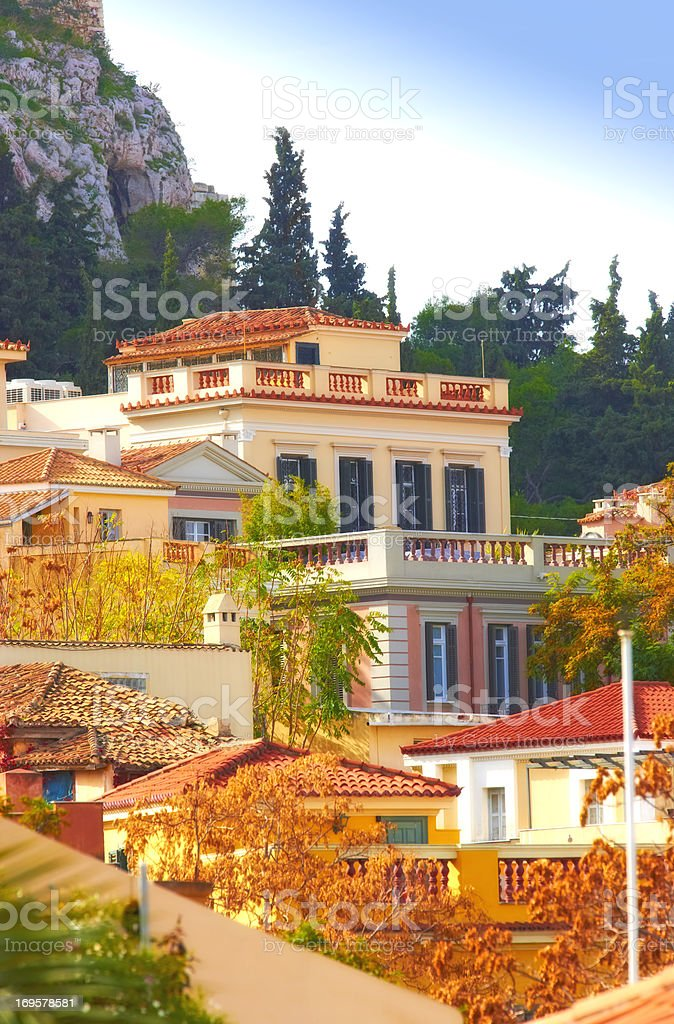 Houses in Old Athens royalty-free stock photo