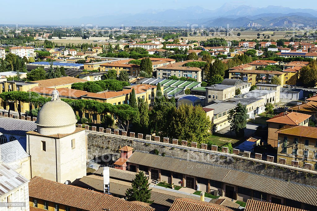 Houses in Pisa viewed from above. royalty-free stock photo