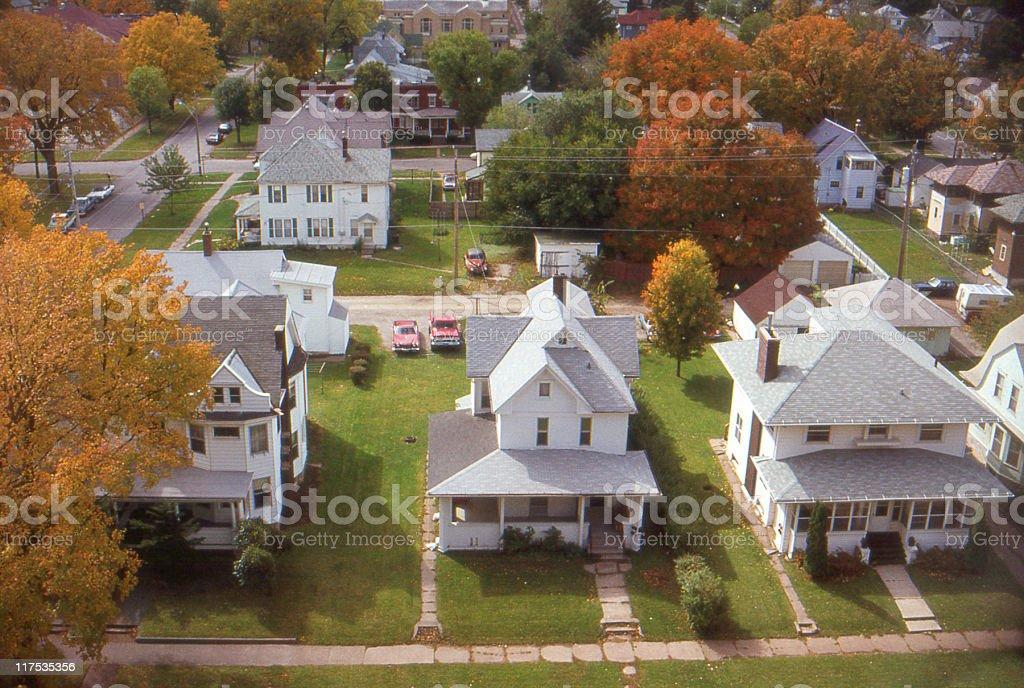 houses in small town Iowa 1985, retro stock photo