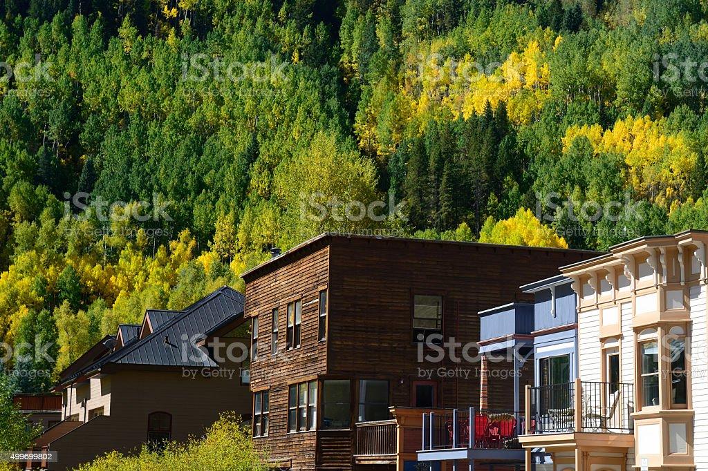 Houses in Telluride of Colorado stock photo