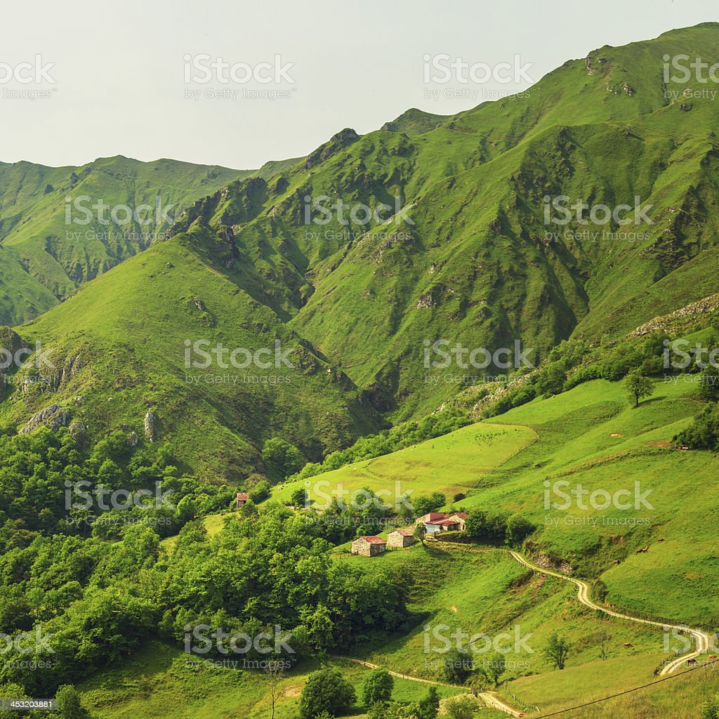 houses in the mountains of asturias stock photo