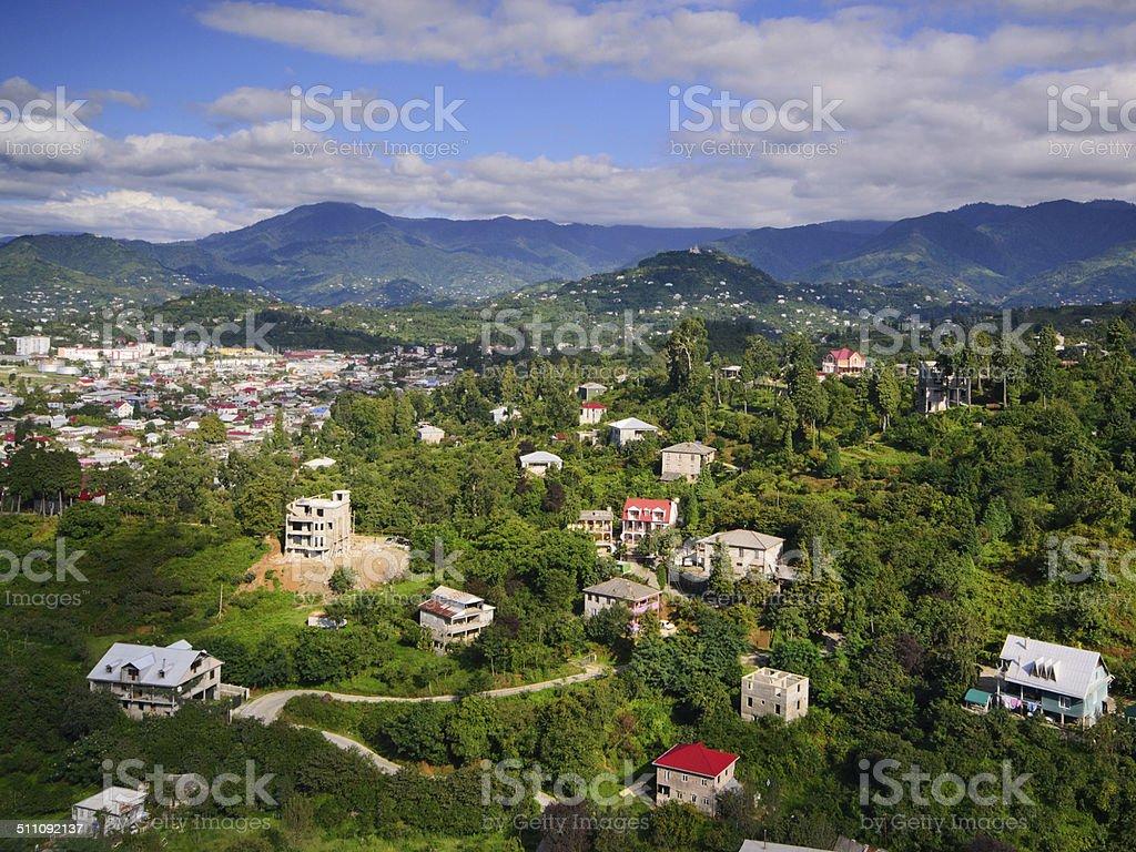 Casas en las montañas foto de stock libre de derechos