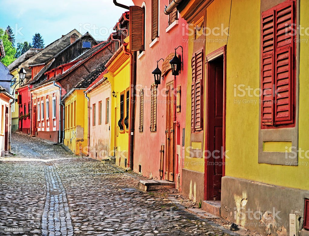 Houses in the narrow street of Sighisoara stock photo