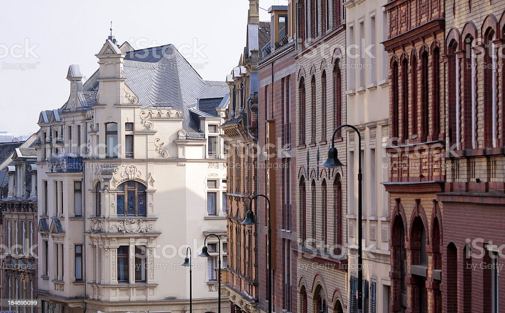 Houses in the old town of Wiesbaden stock photo