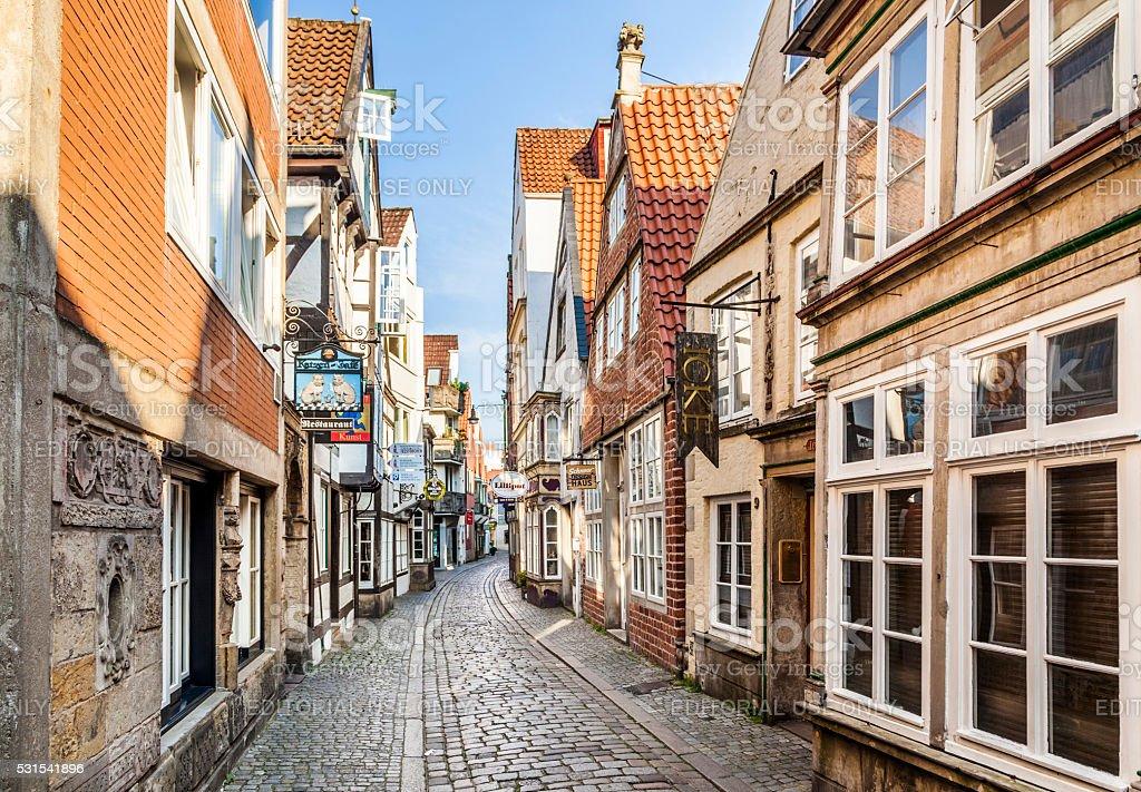 Houses in the quarter Schnoor in  Bremen stock photo
