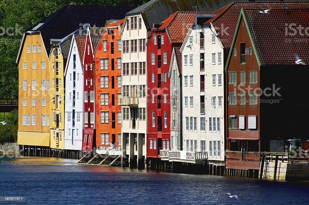 Houses in Trondheim stock photo