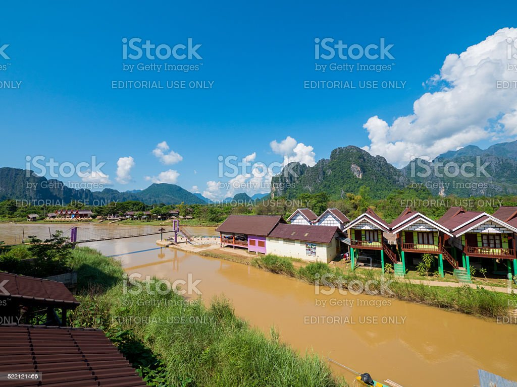 Houses in Vang Vieng, Laos stock photo