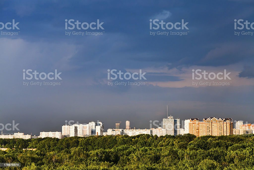 houses lit by sun royalty-free stock photo