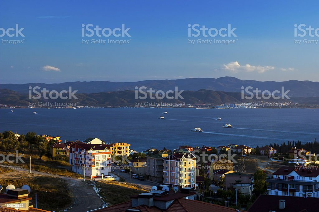 Houses located near seaside royalty-free stock photo