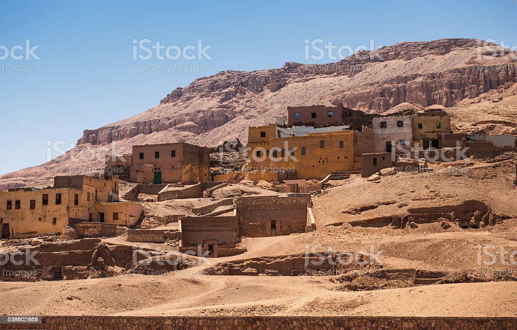 houses mountain desert stock photo
