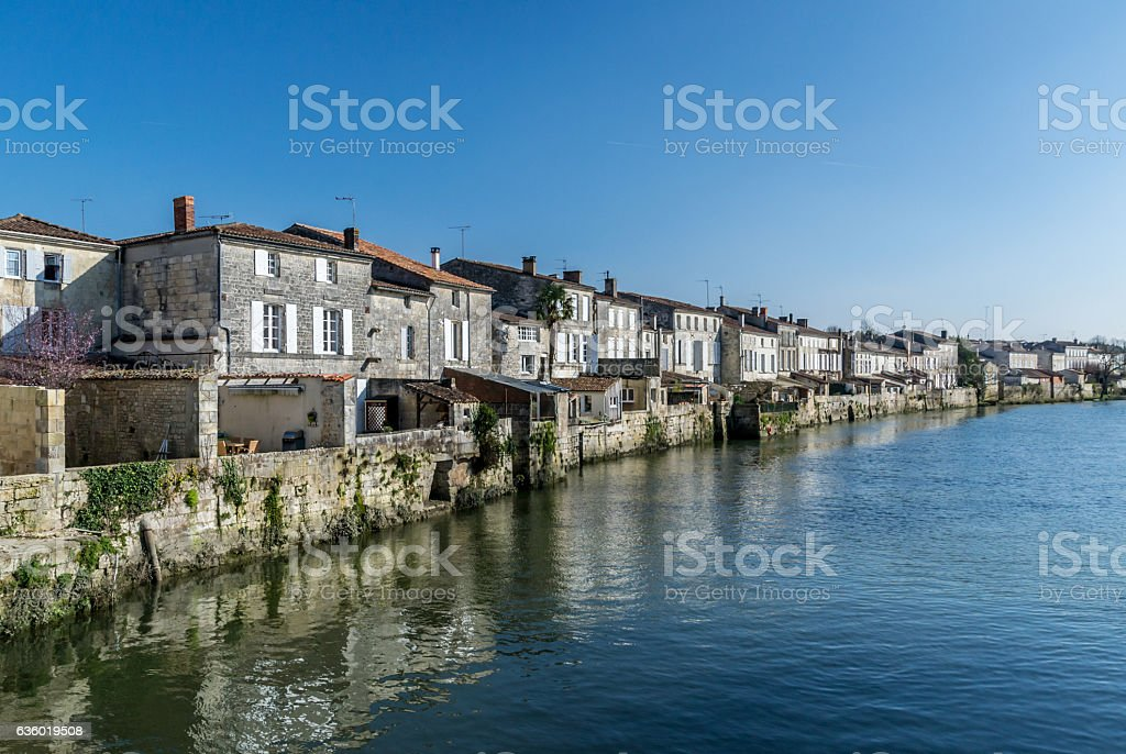 Houses near a river stock photo
