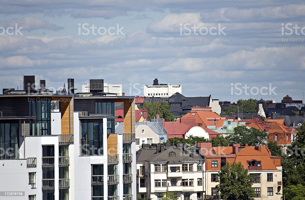 Houses near Eira district in Helsinki royalty-free stock photo