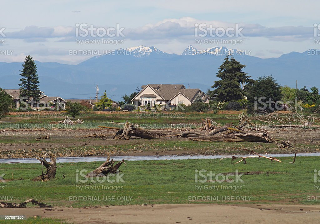 Houses Near the Englishman River Estuary in Parksville, Canada stock photo