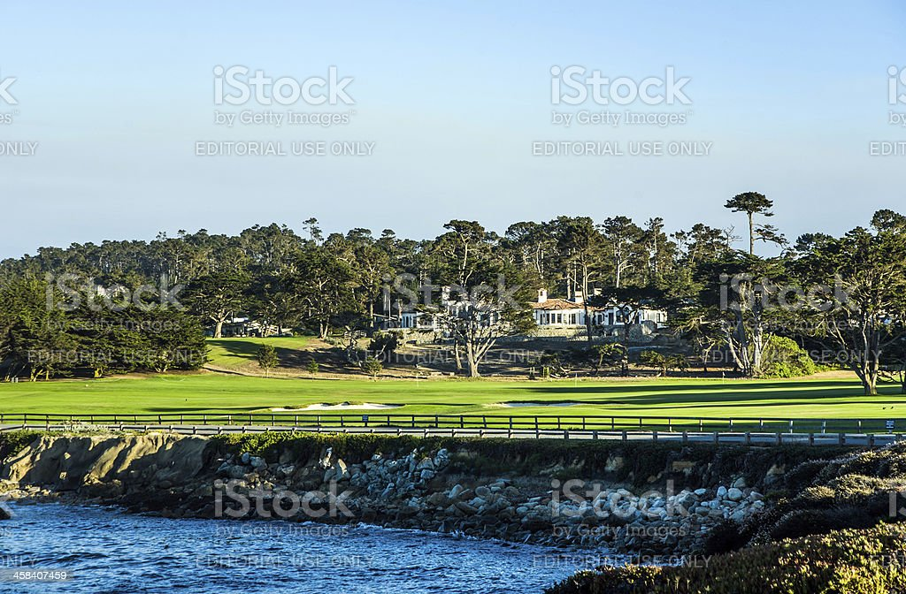 houses near the Pfeiffer beach in California with golf course stock photo