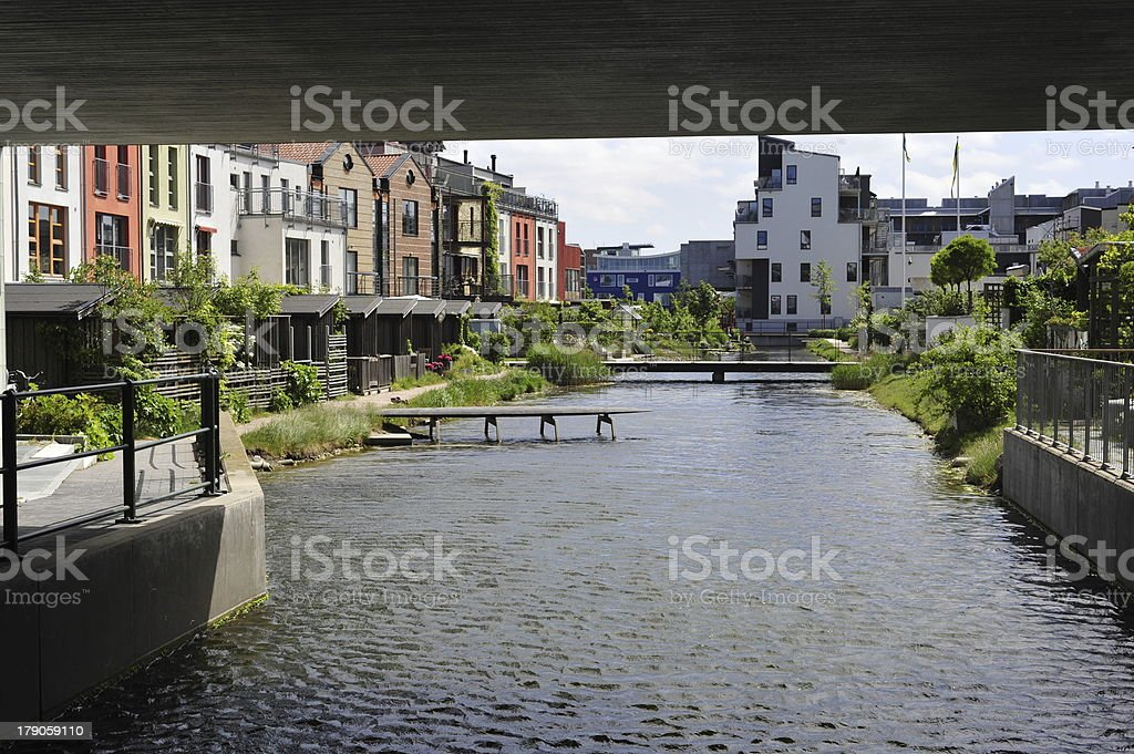 Houses near the river in Malmo stock photo