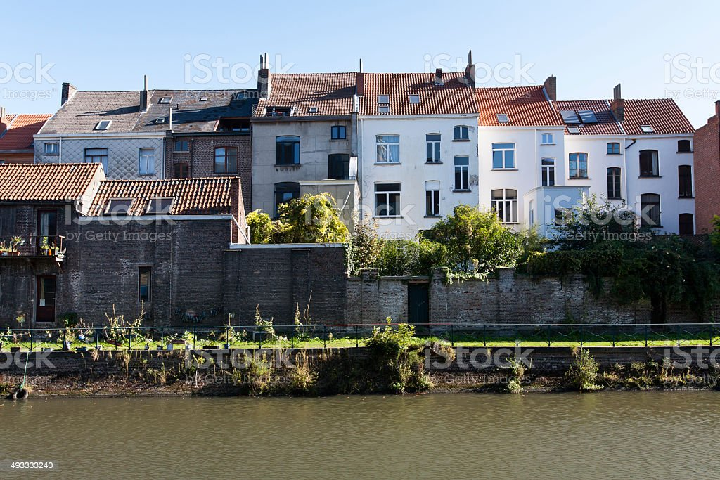 Houses near the river stock photo