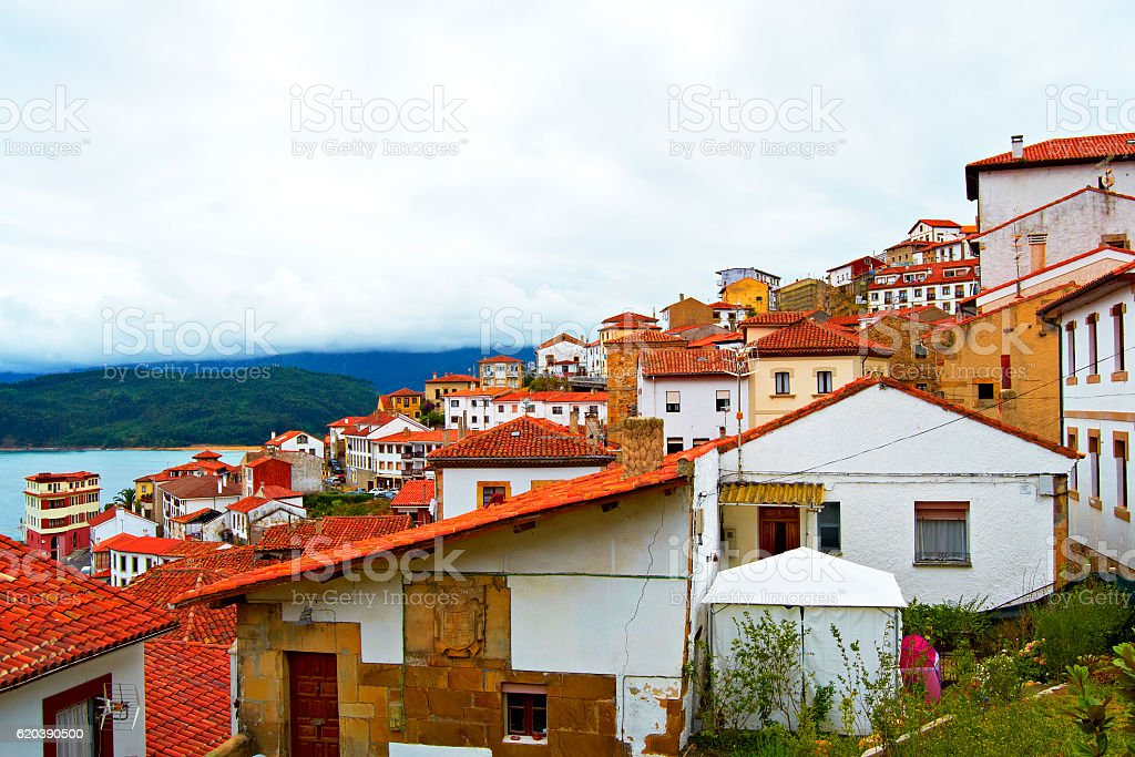 Houses near the sea in Lastres, community of Asturias, Spain stock photo