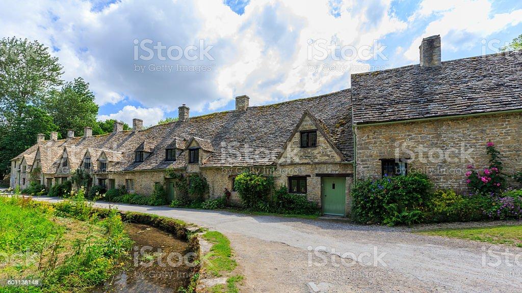 Houses of Arlington Row in Bibury Village, England stock photo