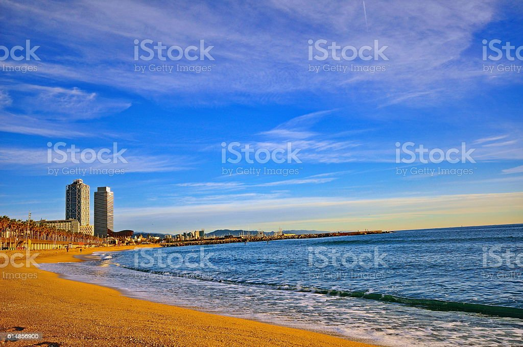 Houses of Barcelona with flags of Catalonia stock photo