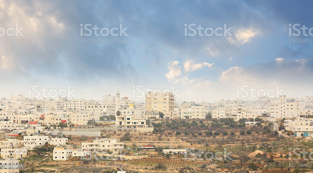 Houses of Hebron city stock photo