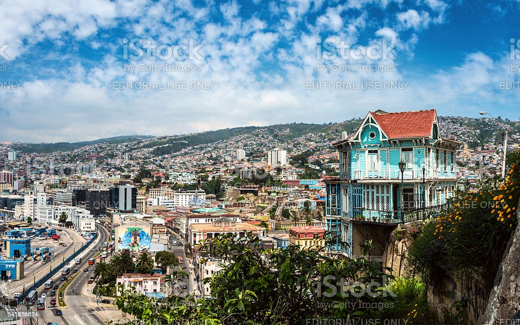 Houses of historical shell  in Valparaiso, Chile stock photo