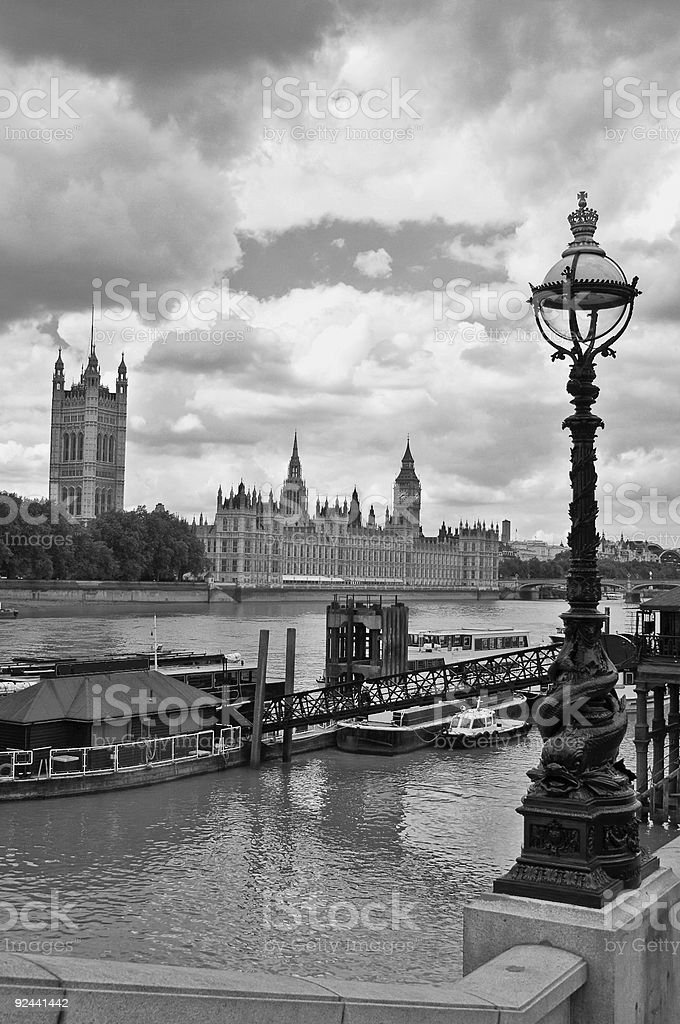 Houses of Parliament 2 in grey royalty-free stock photo