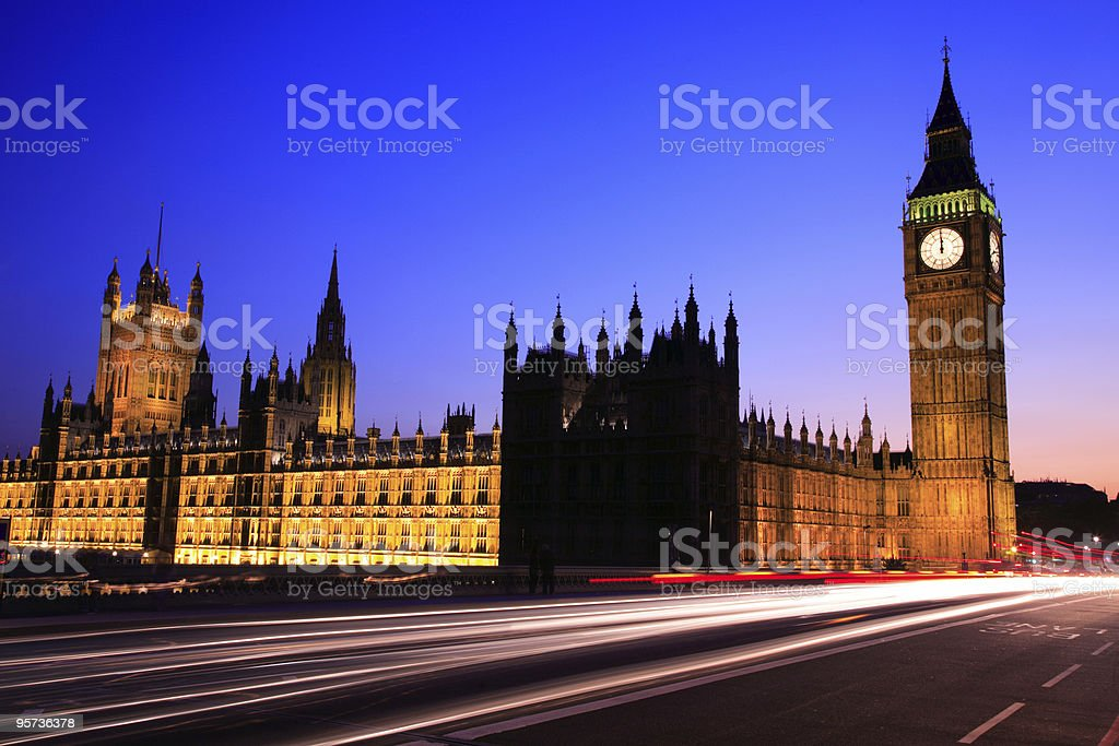 Houses of Parliament and Big Ben at Dusk, London royalty-free stock photo