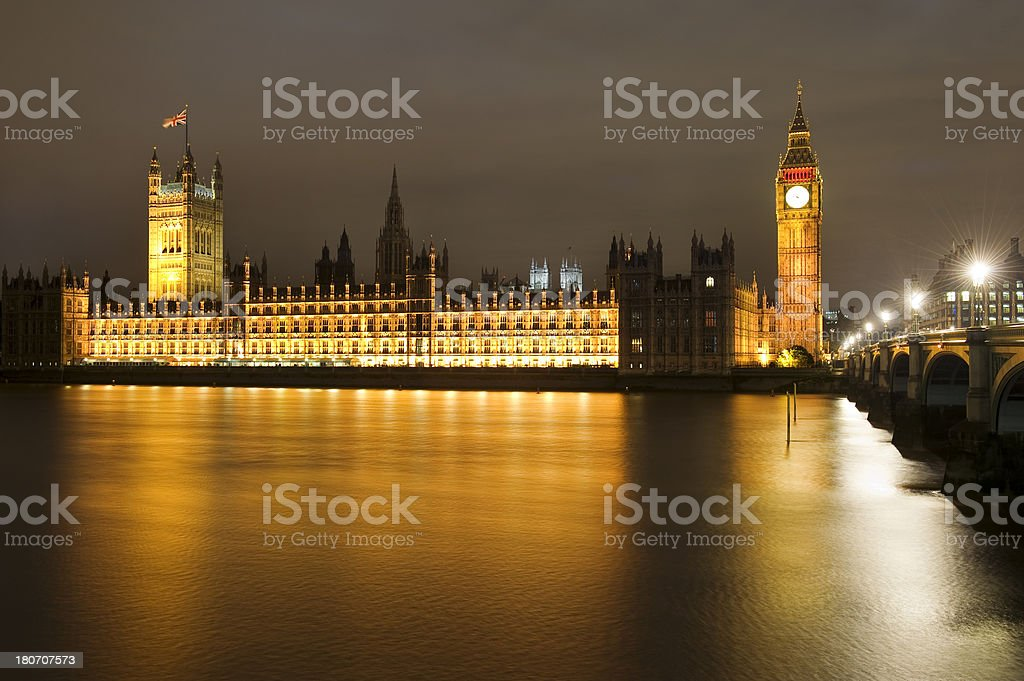 Houses of Parliament and Big Ben at night, London royalty-free stock photo