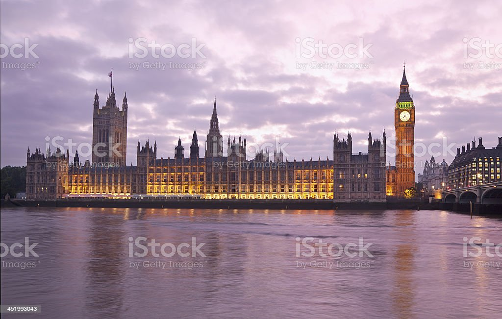 Houses of Parliament and Big Ben at sunset, London, England stock photo