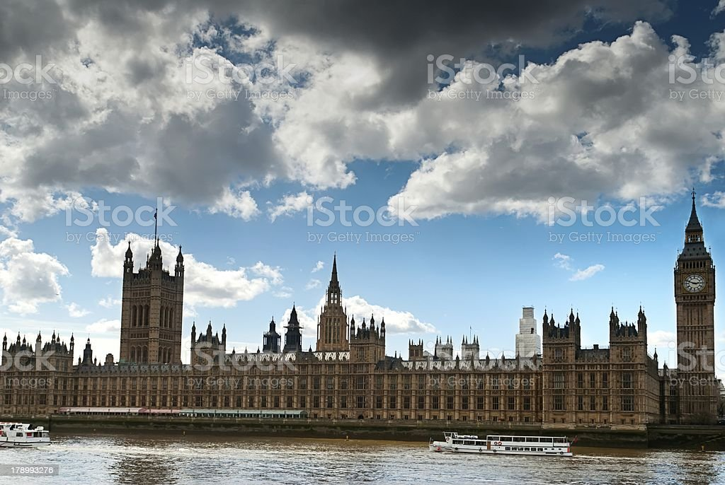 Houses of Parliament and Big Ben at sunset, London UK royalty-free stock photo